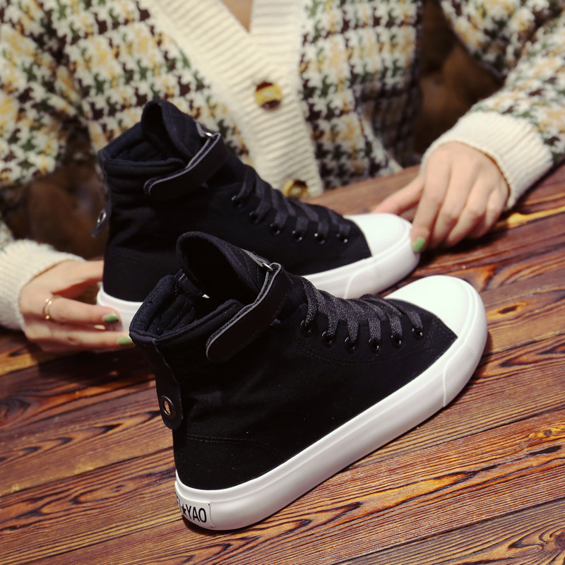 All black spring new high top canvas shoes womens increased Velcro casual shoes