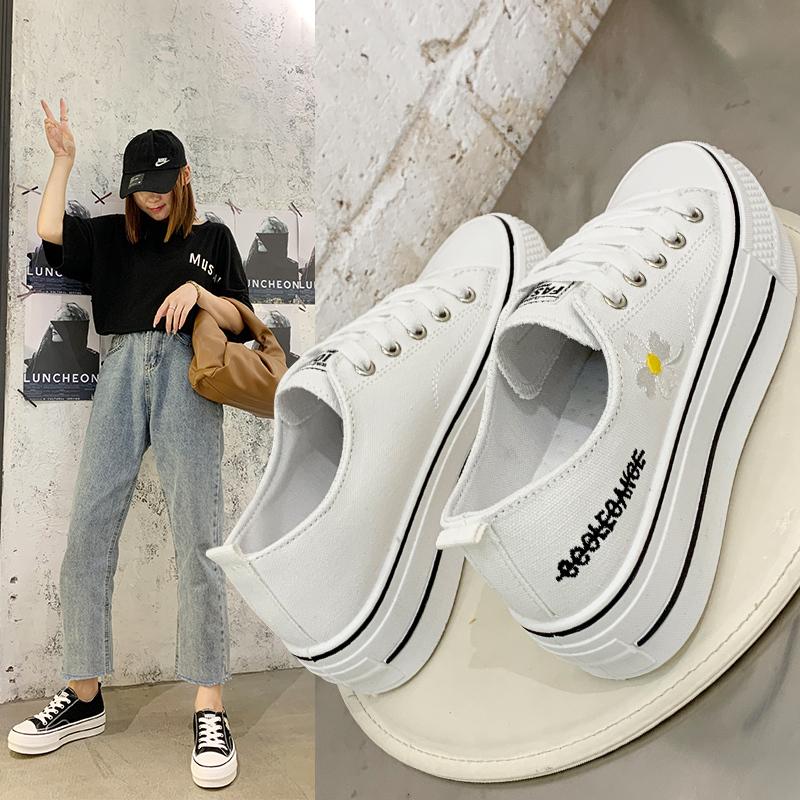 韩版百搭厚底内增高小白鞋