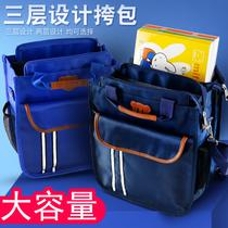 小学生用补习袋补课包中学生手提袋帆布书本收纳袋男女儿童单肩书包斜挎包A4手拎包美术袋多层卡通拉链袋防水