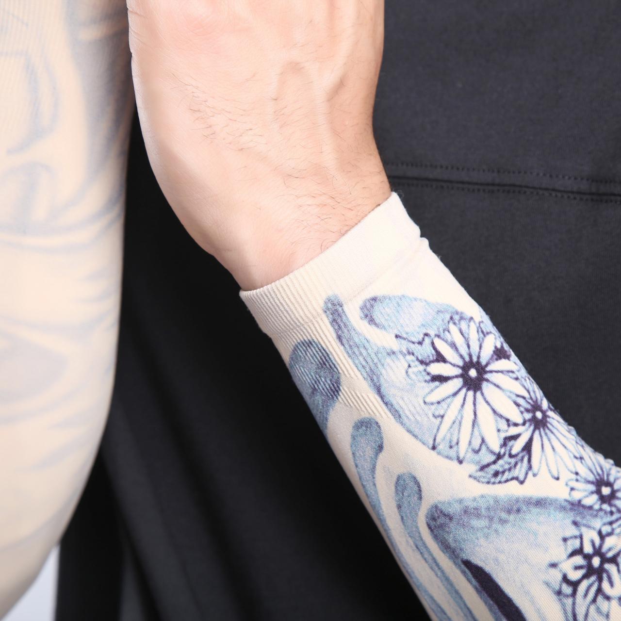 行装备户外防晒冰爽袖男女护臂开车手臂套骑冰丝无缝花臂袖套纹身限时秒杀