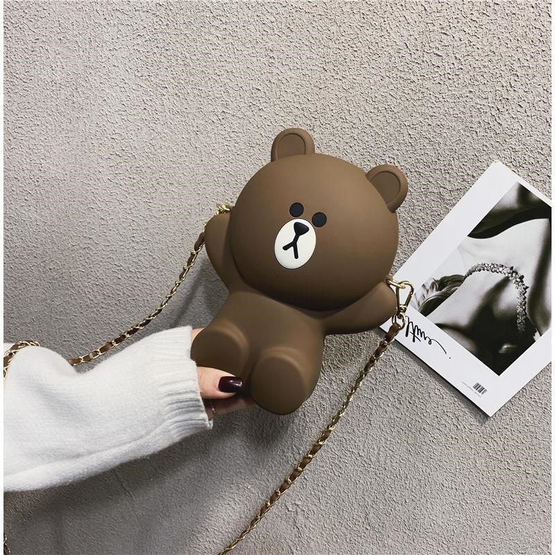 Cute mobile phone bag 2019 new female brown bear MESSENGER BAG PERSONALIZED chain shoulder bag cartoon zero Purse