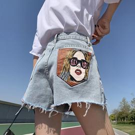高腰破洞牛仔短裤女个性印花夏季2021新款大码宽松阔腿a字热裤ins