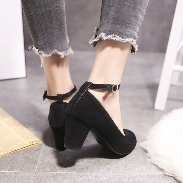 Straight button high-heeled shoes 5cm female thick heel 5cm round head college students professional versatile etiquette interview dress shoes