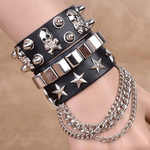 Leather Bracelet personality skull rivet punk hip hop Bracelet parcel post multilayer fashion wide Bracelet men and women chain