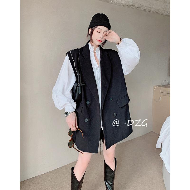 双排扣上衣气质黑色无袖马甲外套潮欧货2021年春季新款欧洲站女装