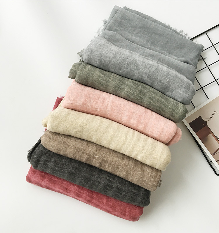 New autumn and winter foreign trade cotton linen stripe pleated scarf