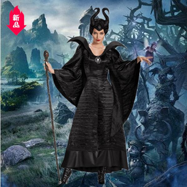 ハロウィンの眠る魔法の黒の魔女は暗い女性の巫女の役を服のCosplay舞台の出演服に従います。