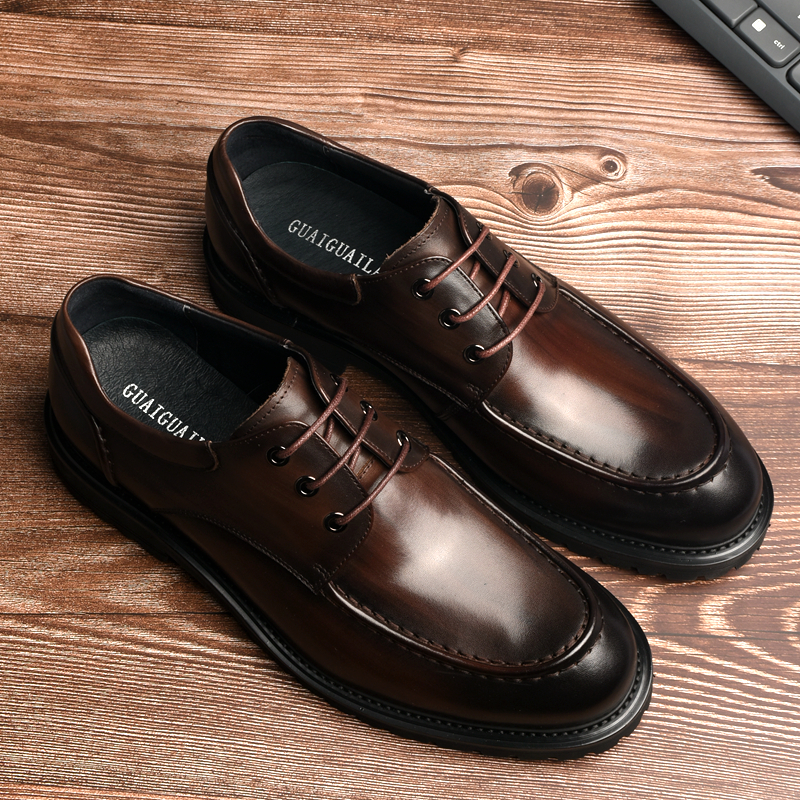Mens leather business dress shoes thick soles casual leather shoes upper leather Derby shoes heighten British mens shoes large size