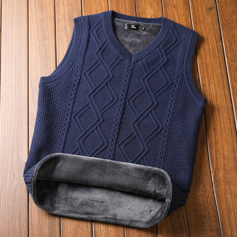 Autumn and winter vests men's sweaters vest plus Plush warm V-neck knitwear wemble sleeveless sweater
