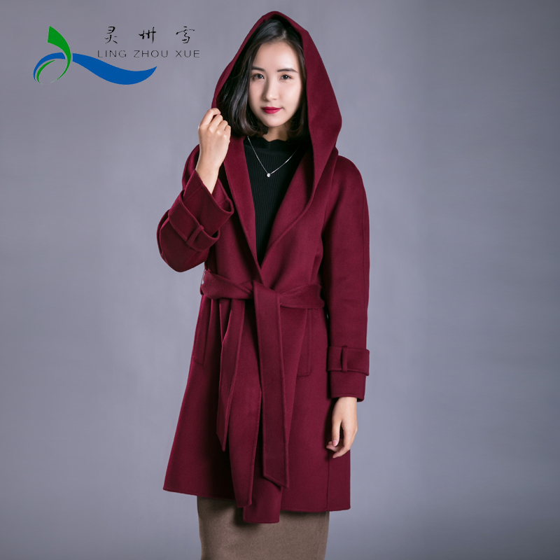 Lingzhou snow pure color hooded waistband coat fashionable and all-around retro fit cashmere wool blend coat