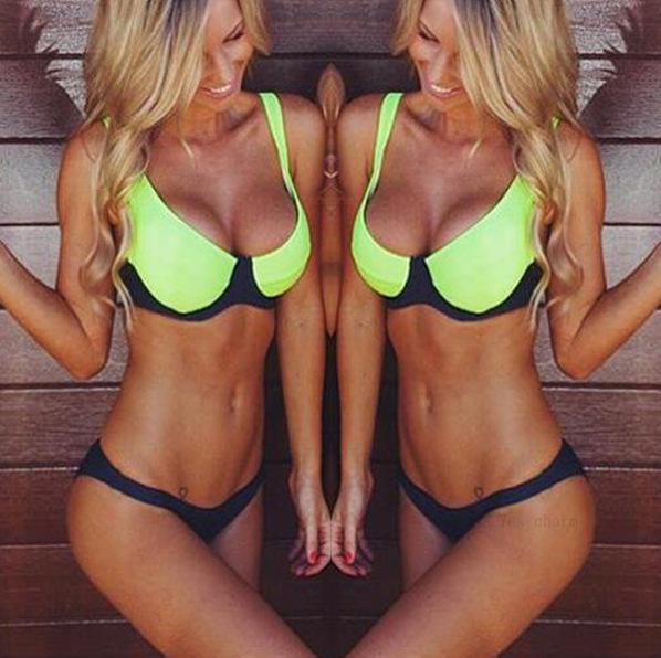 Womens push up high neck Halter Bikini sets swimsuit