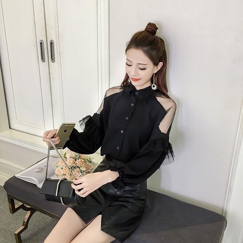2019新款衬衫女学生韩版女装露肩荷叶边长袖网纱拼接灯笼袖衫衬衣