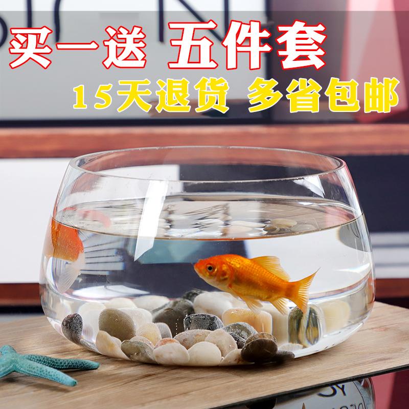 桌面创意玻璃鱼缸小型客厅圆形水培加厚迷你金鱼家用龟缸大号圆球,可领取2元天猫优惠券