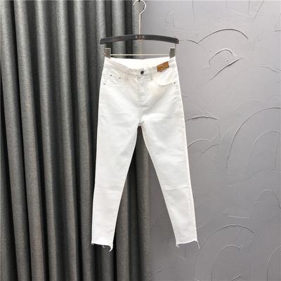 白色高腰小脚牛仔裤女时尚2021春夏新款修身显瘦百搭九分铅笔裤子