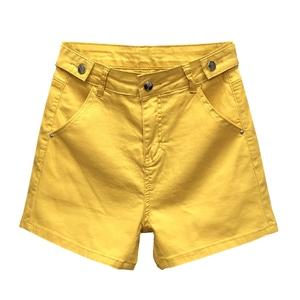 欧洲站黄色牛仔2020夏季高腰短裤