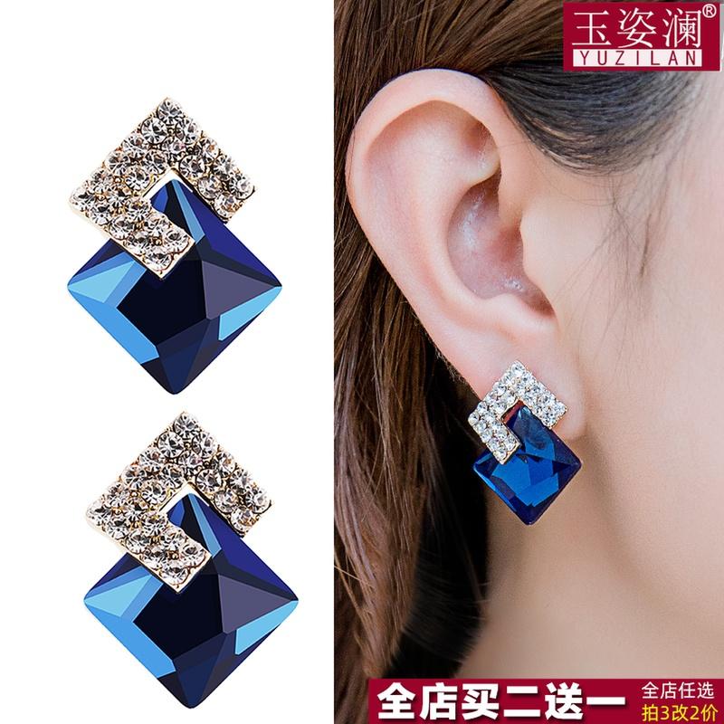玉姿澜绿色水晶耳环女欧美流行时尚气质纯银针水钻耳钉黑色耳饰潮