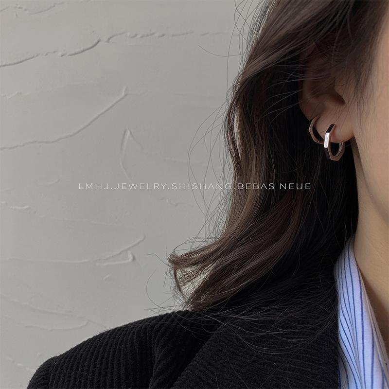 纯银耳环女2020新款个性网红百搭冷淡风简约气质耳钉耳圈耳扣男潮图片