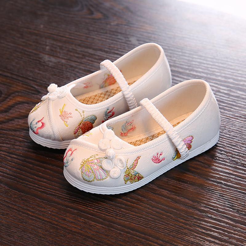 汉服女童绣花鞋老北京儿童手工布鞋民族风古风学生鞋舞蹈刺绣童鞋