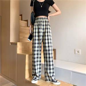 夏季黑白格子裤2021新款显瘦休闲裤