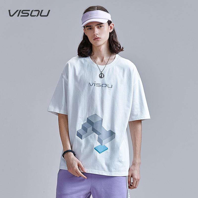 Visou geometric short sleeve T-shirt trendy cotton loose math print mens and womens Quarter Sleeve Top