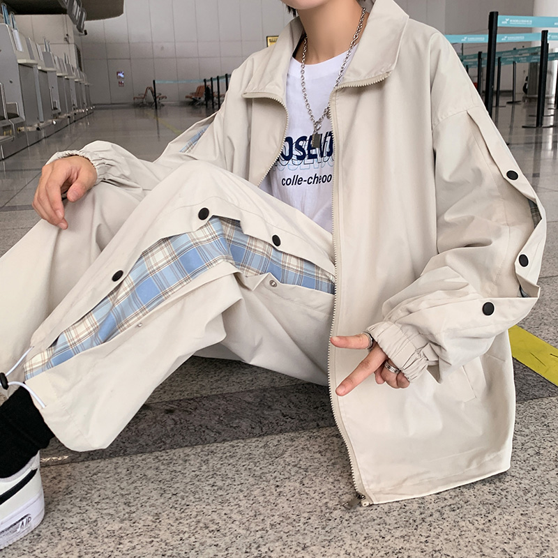 Aa41-2021-7 autumn casual sports check contrast suit loose breasted pants jacket two-piece set