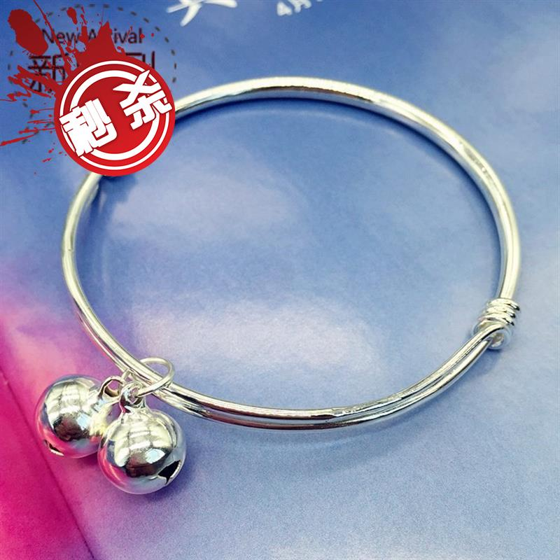 New Korean version 6 small bell Bracelet 55 silver fashion chain girls smooth face simple versatile temperament foot ring