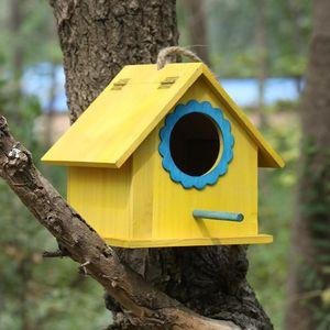 鸟窝新款加大鸟巢鸟笼木制彩色实木鸟屋户外田园装饰鸟房子