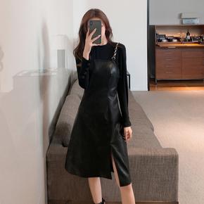 吊带皮裙子2020秋冬款气质女装法式显瘦pu皮连衣裙洋气减龄两件套