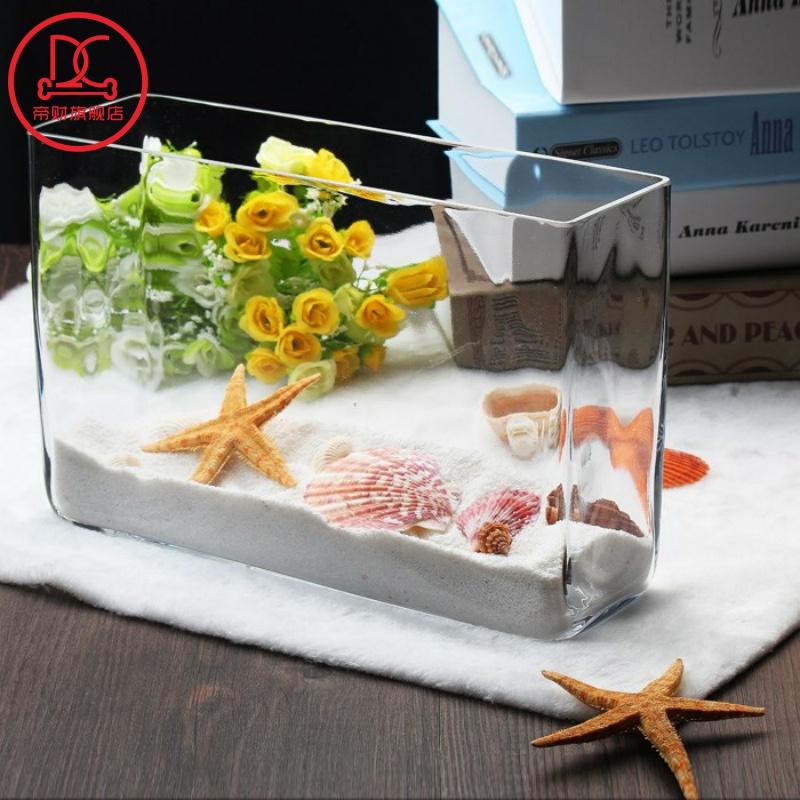 一体鱼缸玻璃鱼缸长方形条形方形鱼缸小型水族箱办公室水培缸,可领取3元天猫优惠券