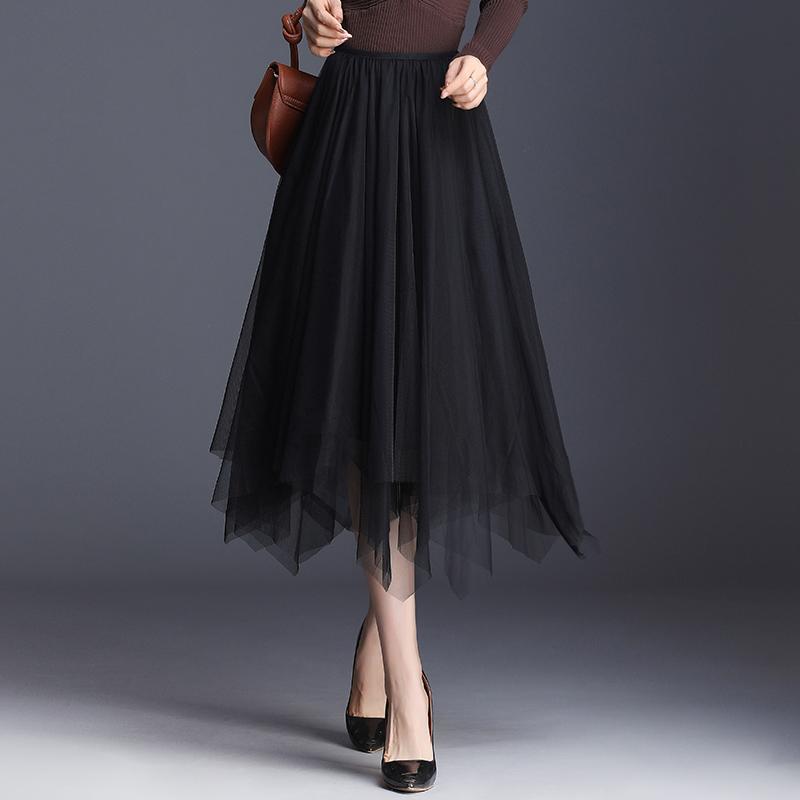 网纱半身裙女中长款不规则纱裙a字裙2020春夏黑色纱裙百褶裙长裙