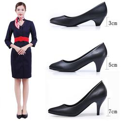 大码职业正装高跟鞋工作鞋女黑色舒适粗跟软底空姐面试礼仪鞋女鞋