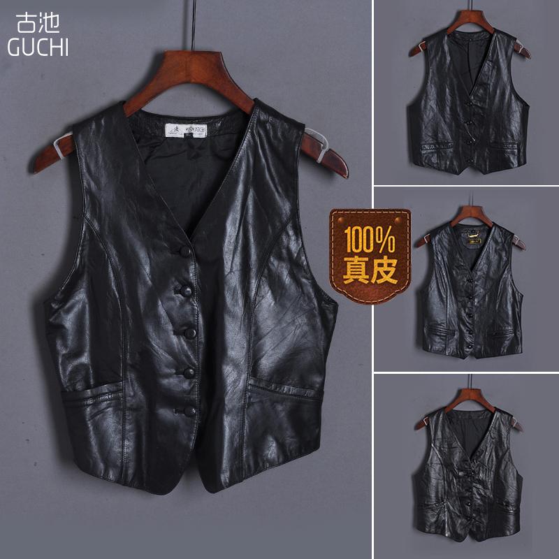 Old leather locomotive short vest women sleeveless vest sheep skin small coat spring and Autumn New Retro jacket