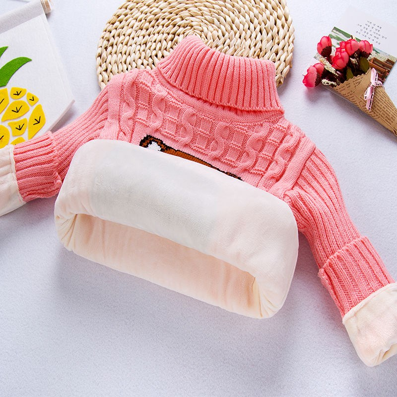 [full body Plush] baby sweater childrens wear childrens high and low neck girls sweater boys backing warm sweater