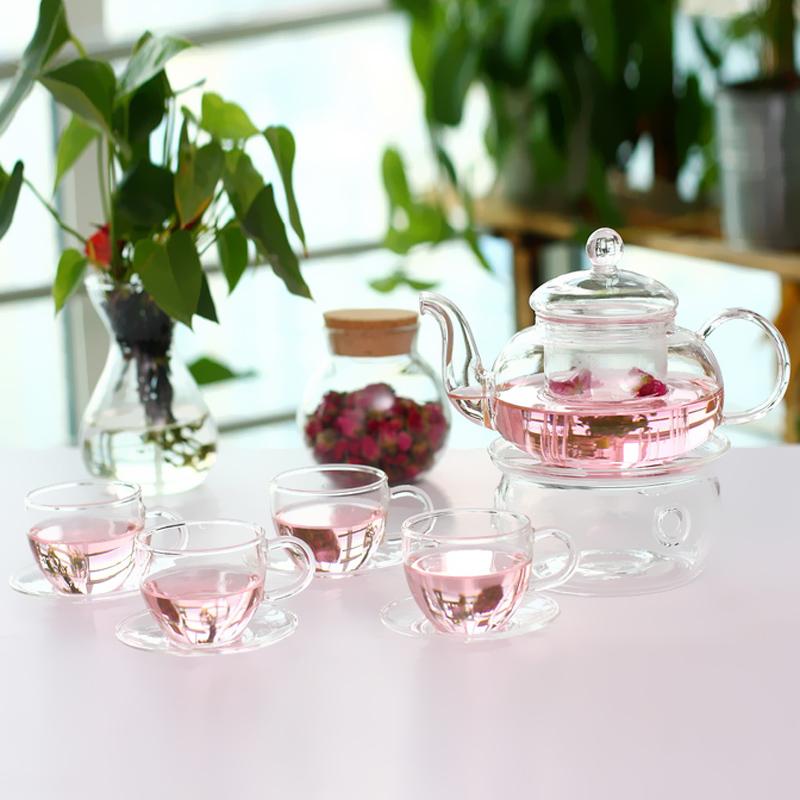 四合一茶具套裝 耐熱玻璃茶杯子 花茶壺套裝功夫茶具套組茶盤