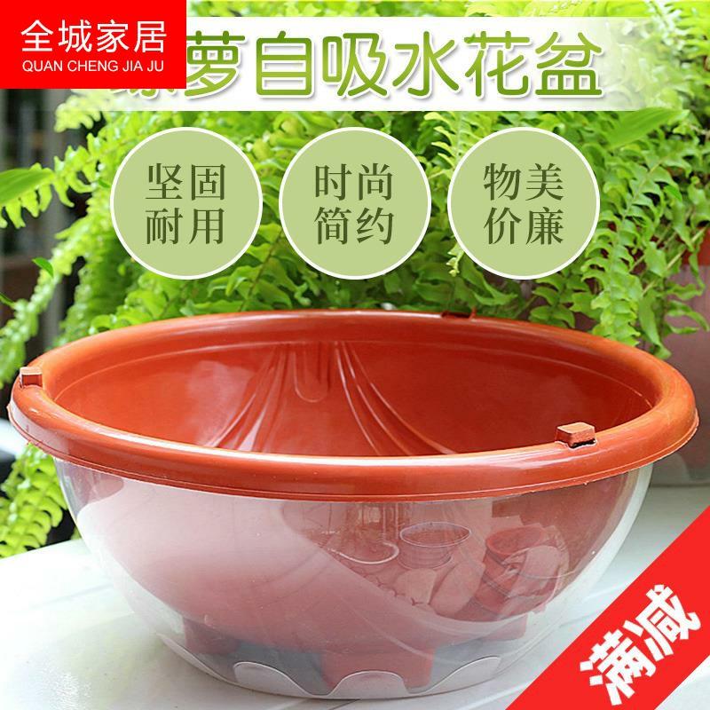 花盆透明双层特价罩大号塑料吸水花盆绿萝专用储水自动懒人花盆