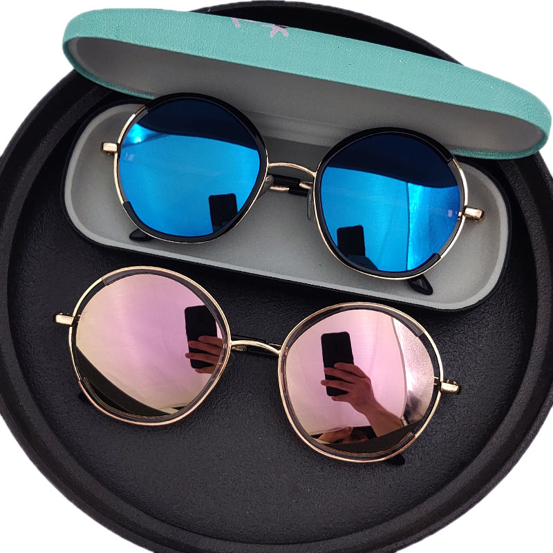 4-14 years old Sunglasses fashionable retro round frame childrens Sunglasses UV proof boys and girls primary school students glasses