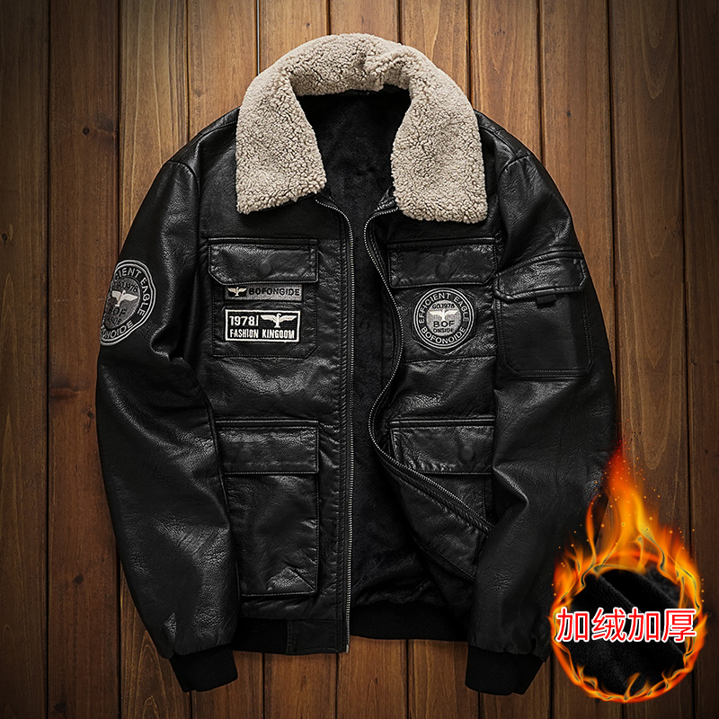 Winter embroidered Pu motorcycle leather coat mens flying suit fashion brand slim lamb hair collar Plush thick leather jacket