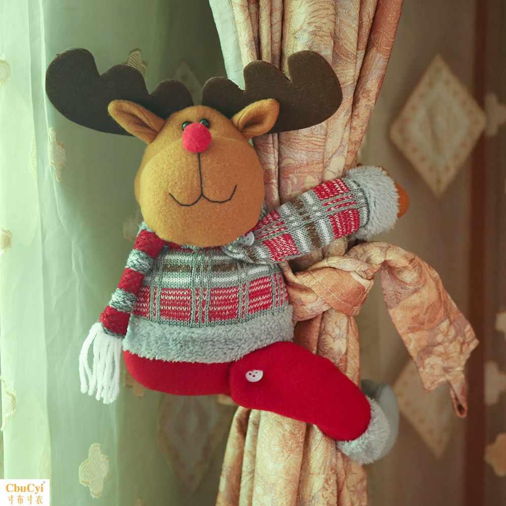圣诞节装饰用品居家窗帘装饰扣卡通娃娃抱扣橱窗布置装饰圣诞礼物