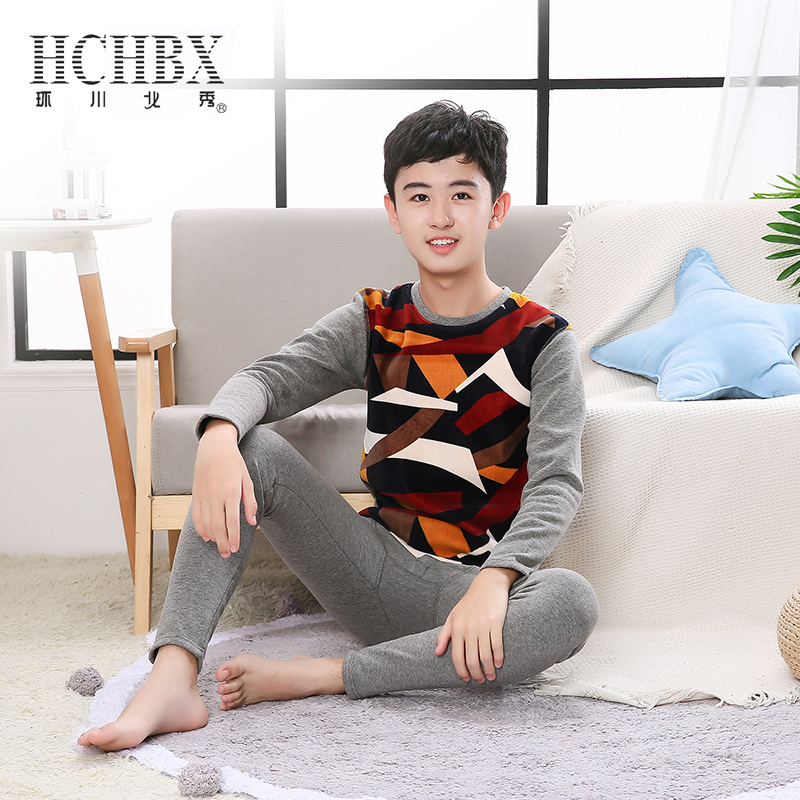 Young childrens Plush warm and thickened underwear suit large size winter long sleeve autumn clothes autumn trousers bottomed pajamas men