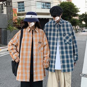 2020春季新款亮色韩国格子宽松bf长袖衬衫男女ins情侣百搭cec外套