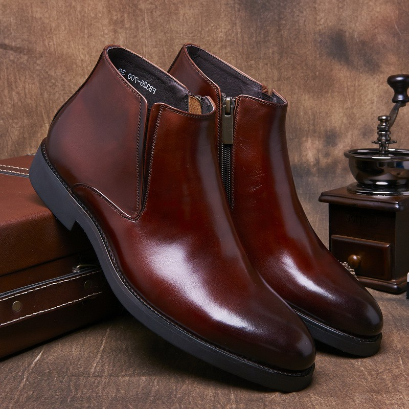 Autumn and winter new mens high top business leather shoes leather boots trend in England