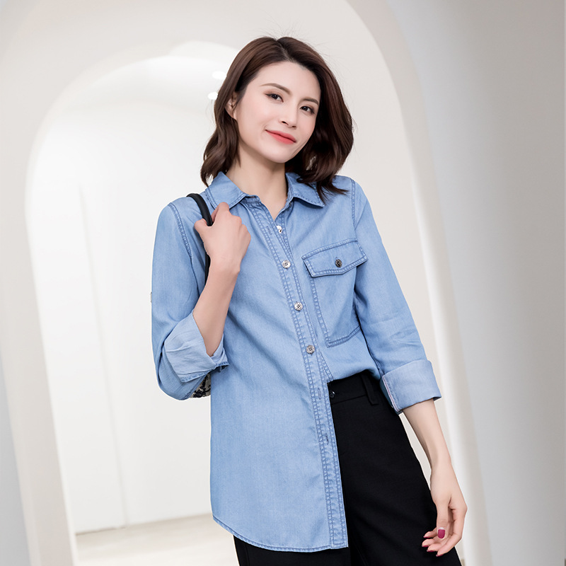 Spring / summer 2019 thin casual versatile V-neck loose 7 / 4 sleeve Tencel cotton denim shirt blouse large