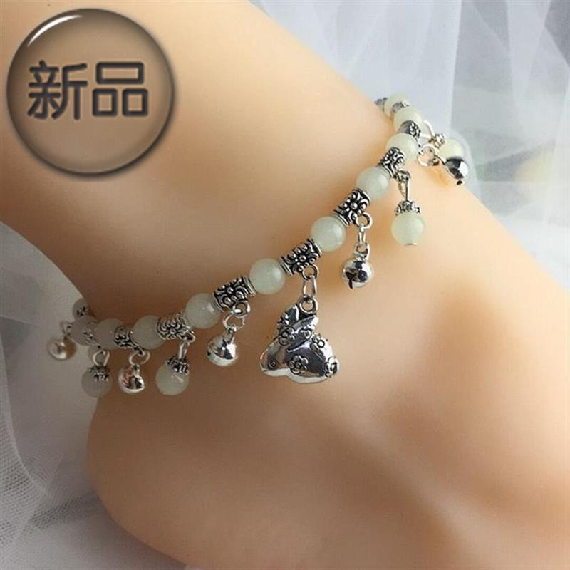 Foot ring 12 Chinese Zodiac Crystal Anklet womens hair f light jewelry Korean fashion luminous bead Anklet