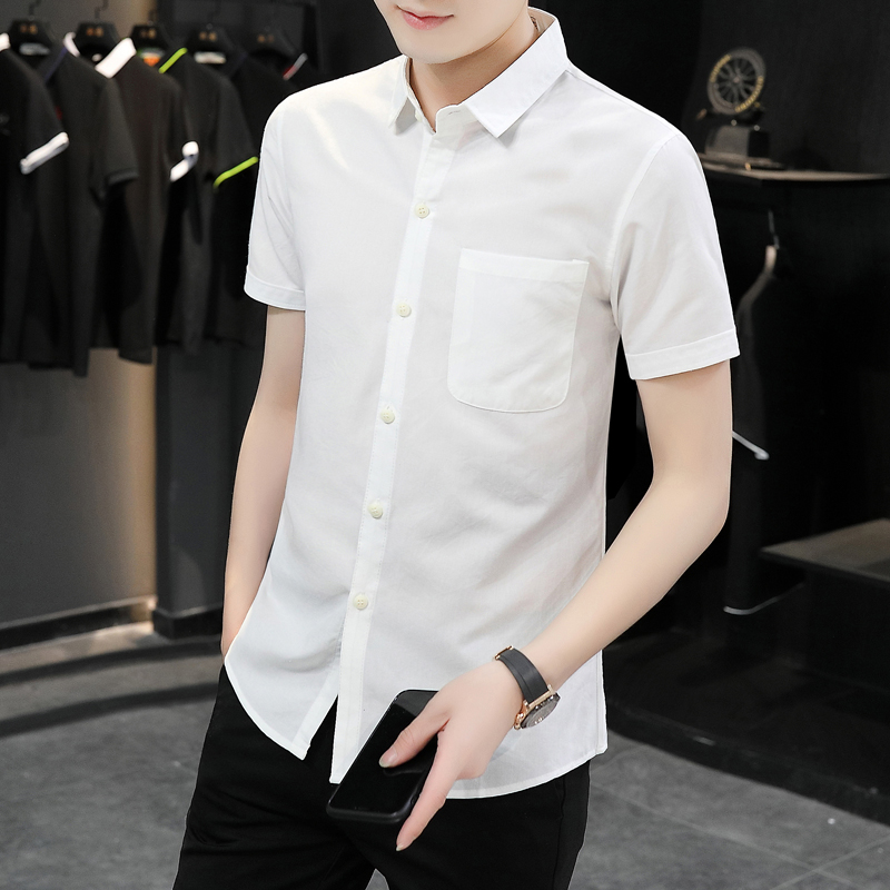 Mens short sleeve shirt T-shirt 2020 new trend slim Lapel simple versatile business casual half sleeve shirt