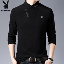 Playboy long sleeve t-shirt men's half high collar double velveteen sweater in autumn and winter