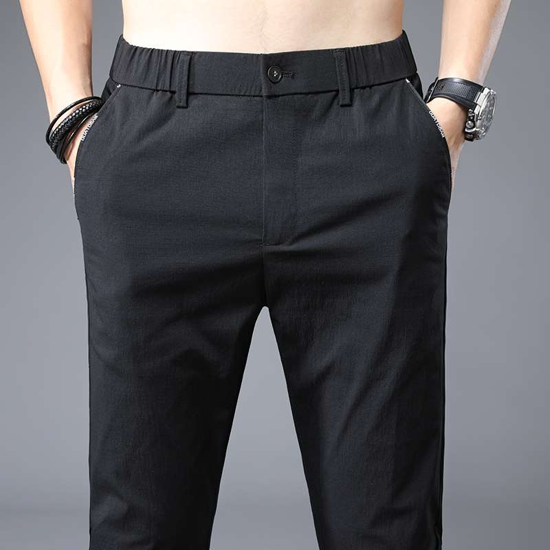Summer ice silk casual pants mens thin business pants loose straight mens pants work suit work pants fashion