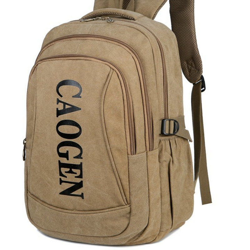 Multi layer canvas double shoulder backpack mens travel large capacity bag