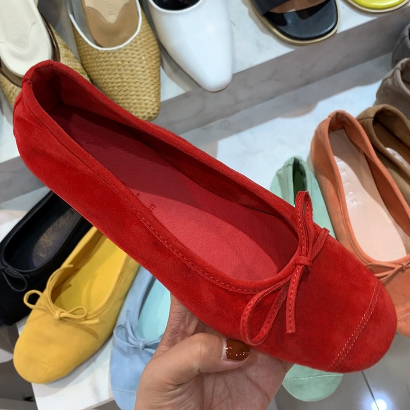 Womens shoes 2019 new autumn shoes shallow mouth ballet shoes womens flat shoes retro cow tendon sole soft bottom bow single shoes