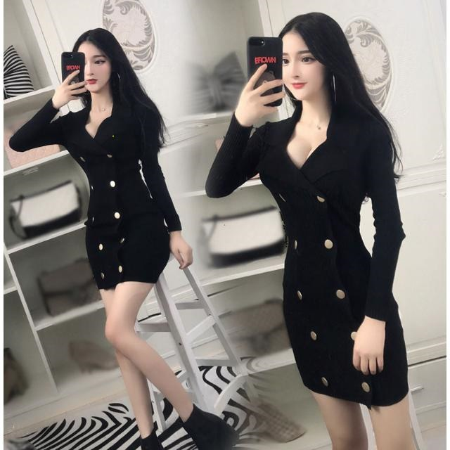 Spring and autumn new fashion nightclub womens temperament slim long sleeve double breasted suit collar knitted buttock dress