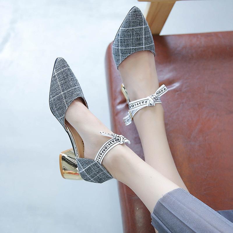 包头凉鞋女2020夏季新款韩版百搭尖头一字扣带粗跟单鞋少女高跟鞋